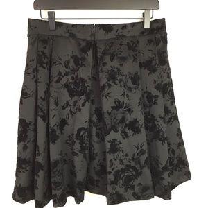 Torrid Black Skater Skirt with Velvet Roses NWT